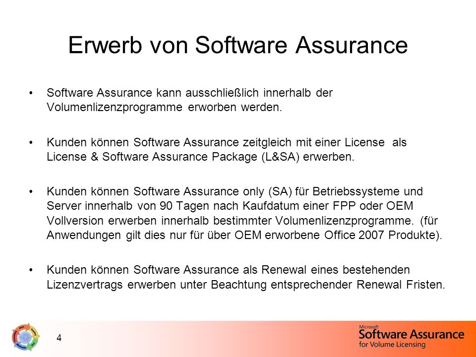 5 SA Services im Produktlebenszyklus New Version Rights Ratenzahlung Trainingsgutscheine Windows Vista Enterprise Windows Vista Ultimate Microsoft Desktop Optimization Pack Vista Enterprise Centralized Desktop E-Learning Home Use Program Employee Purchase Program Enterprise Source License Program Packaged Services Extended Hotfix Support Windows Fundamentals for Legacy PCs Technischer Support (24x7) TechNet Subscription durch Software Assurance Cold Back Up for Disaster Recovery