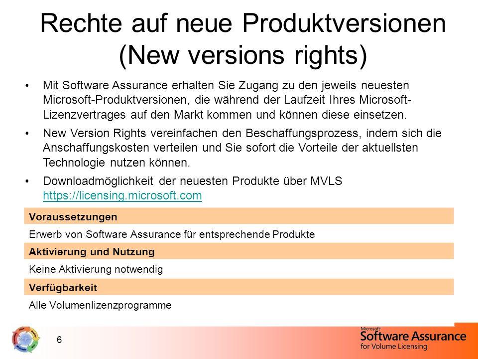 6 Rechte auf neue Produktversionen (New versions rights) Mit Software Assurance erhalten Sie Zugang zu den jeweils neuesten Microsoft-Produktversionen