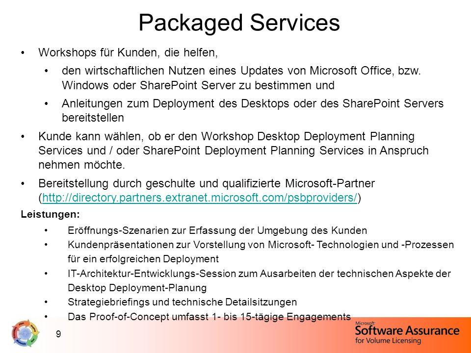9 Packaged Services Workshops für Kunden, die helfen, den wirtschaftlichen Nutzen eines Updates von Microsoft Office, bzw. Windows oder SharePoint Ser