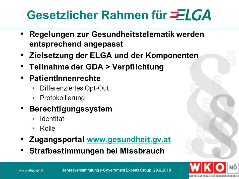 Gesetzlicher Rahmen für Regelungen zur Gesundheitstelematik werden entsprechend angepasst Zielsetzung der ELGA und der Komponenten Teilnahme der GDA >