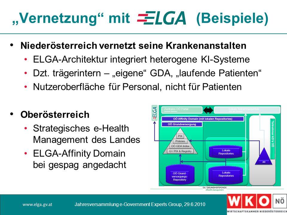 Vernetzung mit (Beispiele) Niederösterreich vernetzt seine Krankenanstalten ELGA-Architektur integriert heterogene KI-Systeme Dzt. trägerintern – eige