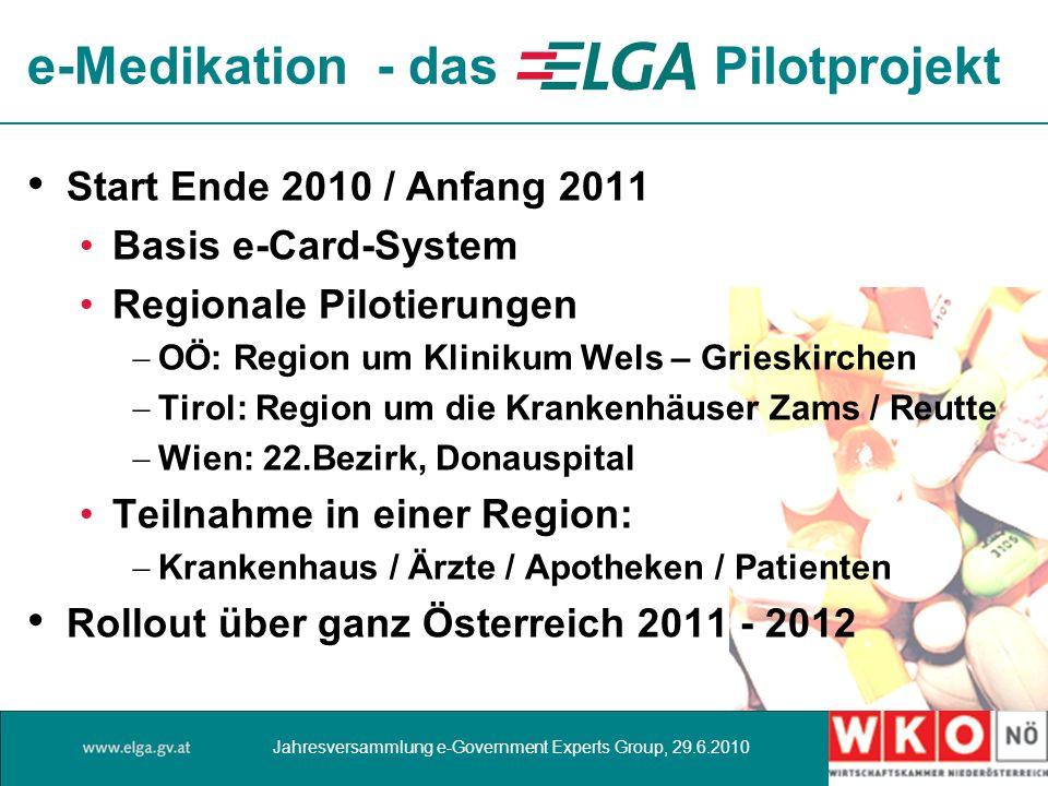Start Ende 2010 / Anfang 2011 Basis e-Card-System Regionale Pilotierungen OÖ: Region um Klinikum Wels – Grieskirchen Tirol: Region um die Krankenhäuse