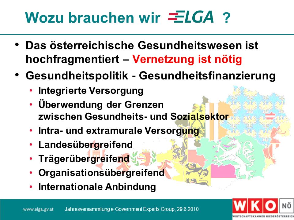 Wozu brauchen wir ? Das österreichische Gesundheitswesen ist hochfragmentiert – Vernetzung ist nötig Gesundheitspolitik - Gesundheitsfinanzierung Inte