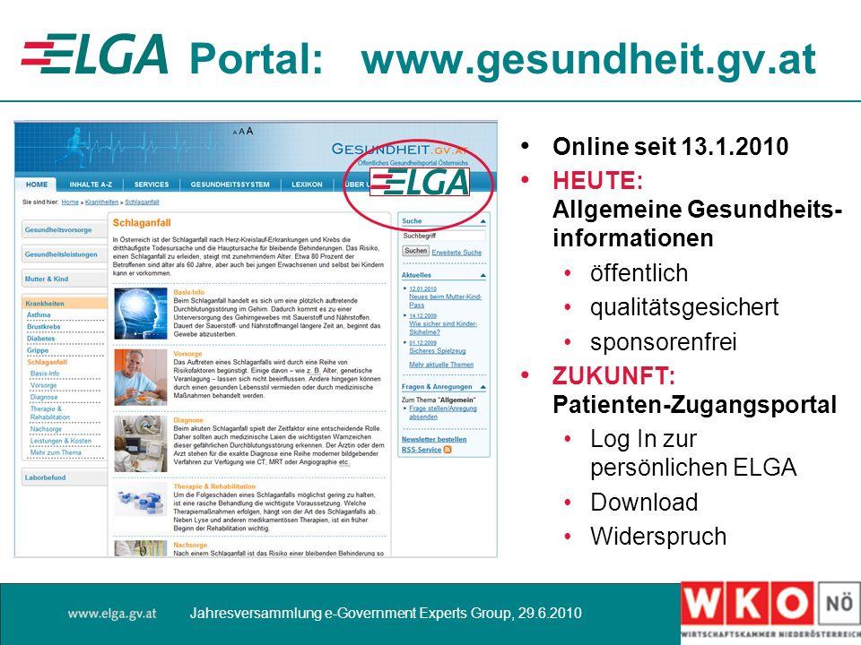 Portal: www.gesundheit.gv.at Online seit 13.1.2010 HEUTE: Allgemeine Gesundheits- informationen öffentlich qualitätsgesichert sponsorenfrei ZUKUNFT: P