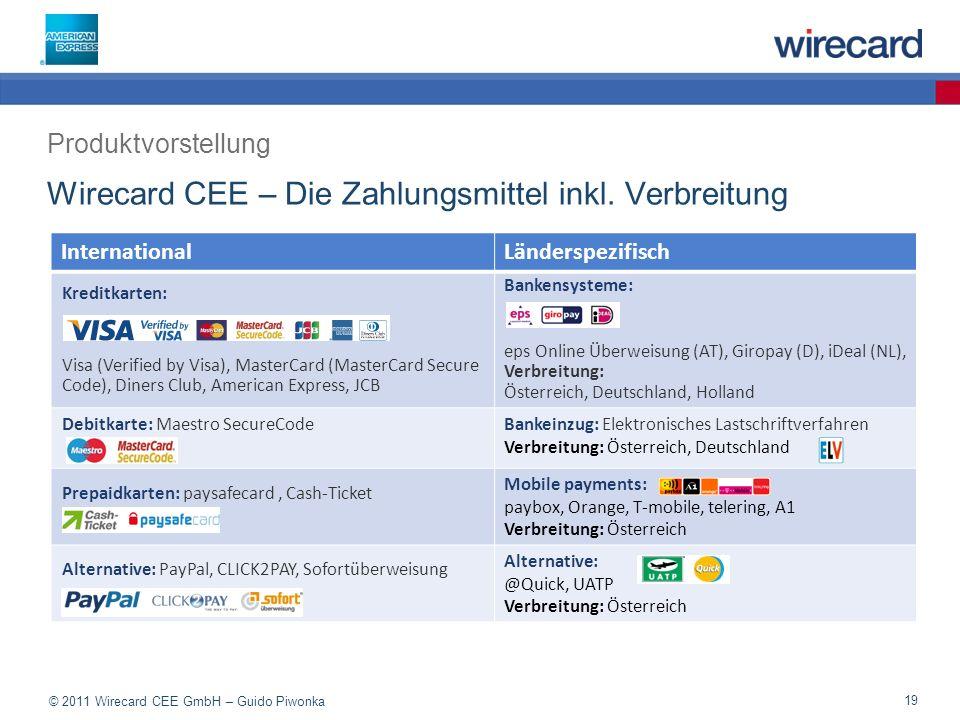 © 2011 Wirecard CEE GmbH – Guido Piwonka 19 Wirecard CEE – Die Zahlungsmittel inkl.