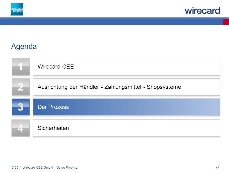 © 2011 Wirecard CEE GmbH – Guido Piwonka 21 Agenda 1 Wirecard CEE 2 Ausrichtung der Händler - Zahlungsmittel - Shopsysteme 3 Der Prozess 4 Sicherheiten