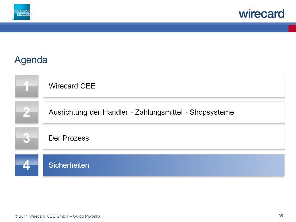 © 2011 Wirecard CEE GmbH – Guido Piwonka 35 Agenda 1 Wirecard CEE 2 Ausrichtung der Händler - Zahlungsmittel - Shopsysteme 3 Der Prozess 4 Sicherheiten