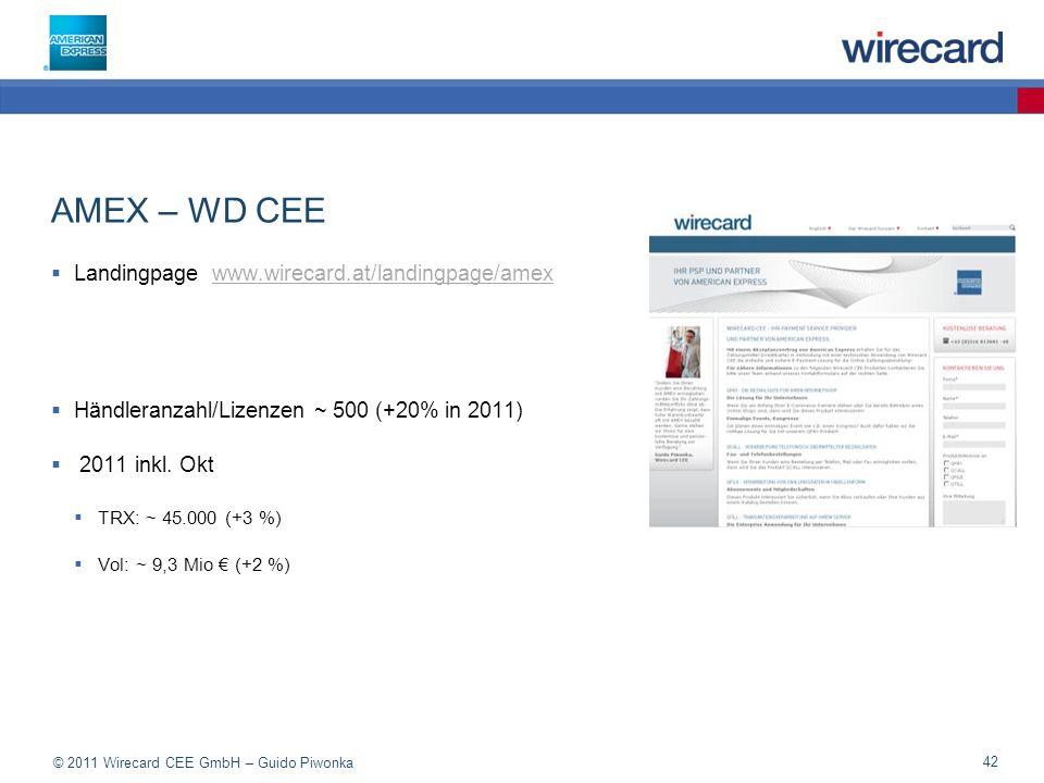© 2011 Wirecard CEE GmbH – Guido Piwonka 42 AMEX – WD CEE Landingpage www.wirecard.at/landingpage/amexwww.wirecard.at/landingpage/amex Händleranzahl/Lizenzen ~ 500 (+20% in 2011) 2011 inkl.