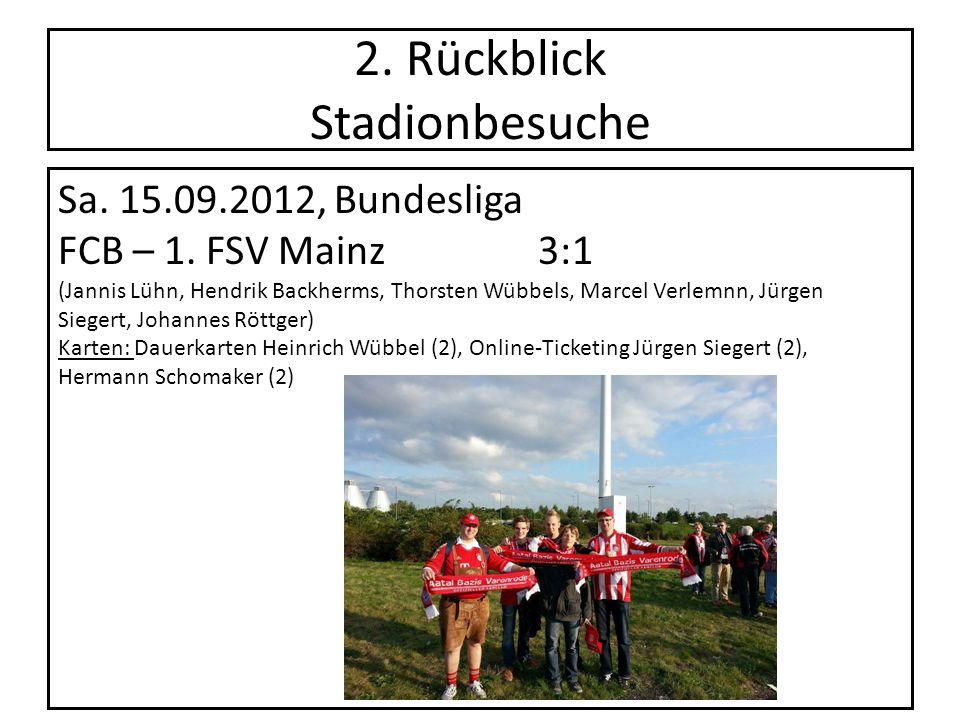 2. Rückblick Stadionbesuche Sa. 15.09.2012, Bundesliga FCB – 1. FSV Mainz 3:1 (Jannis Lühn, Hendrik Backherms, Thorsten Wübbels, Marcel Verlemnn, Jürg