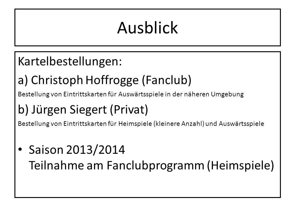 Ausblick Kartelbestellungen: a) Christoph Hoffrogge (Fanclub) Bestellung von Eintrittskarten für Auswärtsspiele in der näheren Umgebung b) Jürgen Sieg