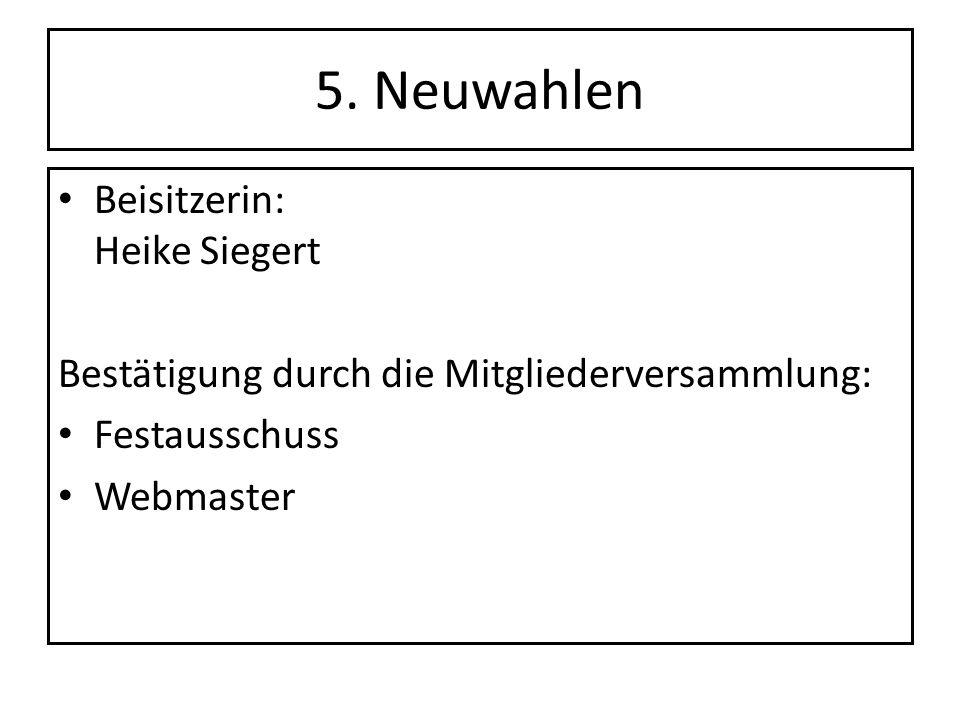 5. Neuwahlen Beisitzerin: Heike Siegert Bestätigung durch die Mitgliederversammlung: Festausschuss Webmaster