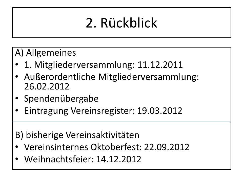 2. Rückblick A) Allgemeines 1. Mitgliederversammlung: 11.12.2011 Außerordentliche Mitgliederversammlung: 26.02.2012 Spendenübergabe Eintragung Vereins