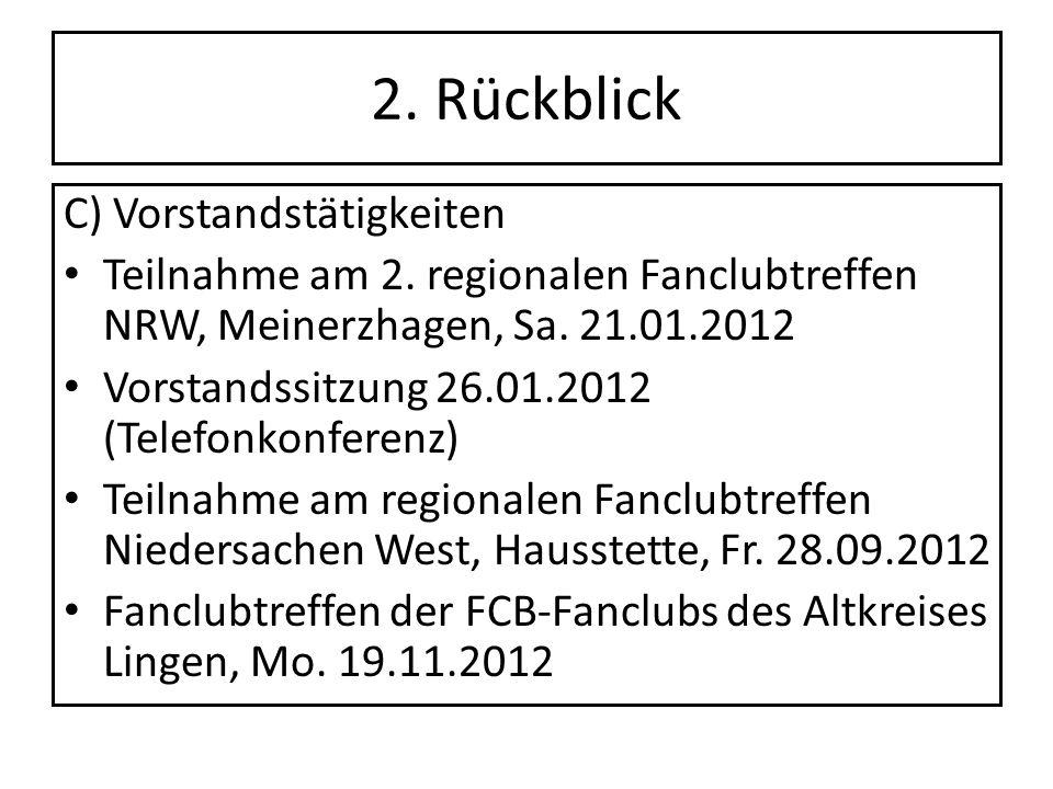 2. Rückblick C) Vorstandstätigkeiten Teilnahme am 2. regionalen Fanclubtreffen NRW, Meinerzhagen, Sa. 21.01.2012 Vorstandssitzung 26.01.2012 (Telefonk