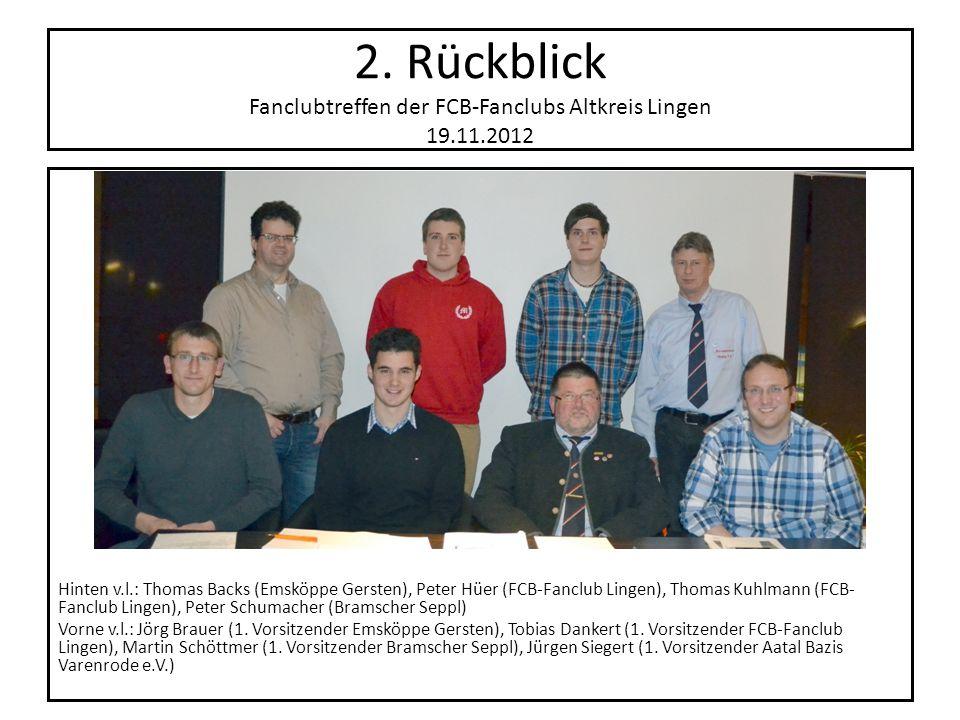 2. Rückblick Fanclubtreffen der FCB-Fanclubs Altkreis Lingen 19.11.2012 Hinten v.l.: Thomas Backs (Emsköppe Gersten), Peter Hüer (FCB-Fanclub Lingen),