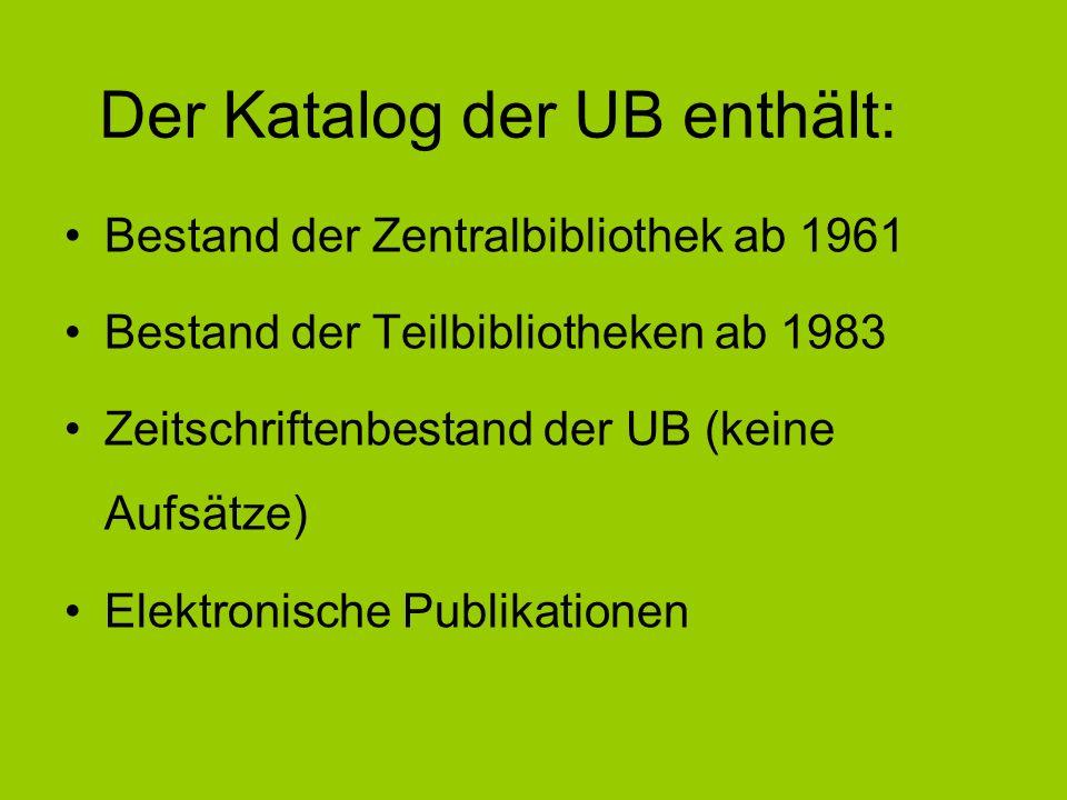 Bestand der Zentralbibliothek ab 1961 Bestand der Teilbibliotheken ab 1983 Zeitschriftenbestand der UB (keine Aufsätze) Elektronische Publikationen De