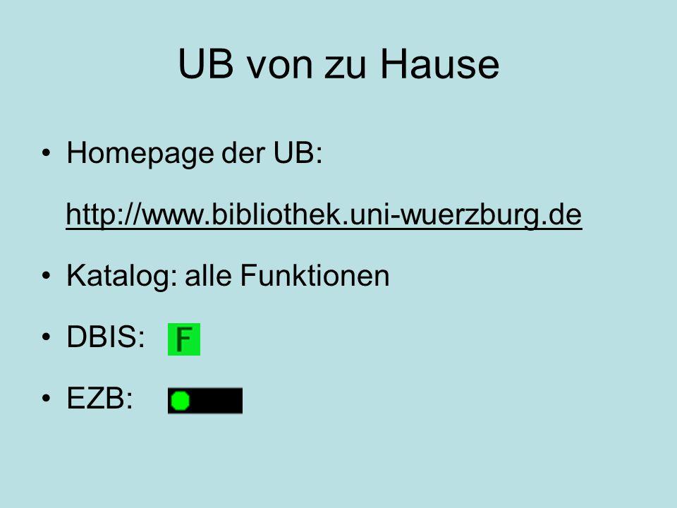 UB von zu Hause Homepage der UB: http://www.bibliothek.uni-wuerzburg.de Katalog: alle Funktionen DBIS: EZB:
