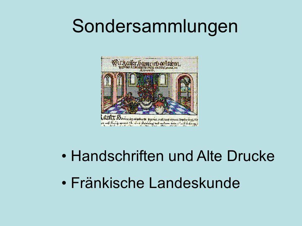 Sondersammlungen Handschriften und Alte Drucke Fränkische Landeskunde