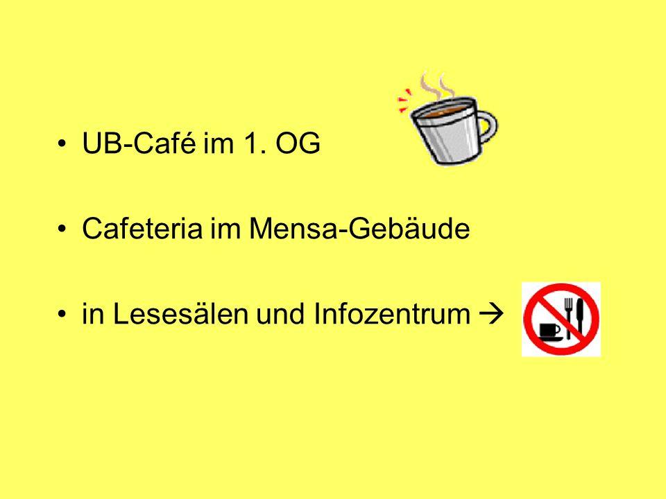 UB-Café im 1. OG Cafeteria im Mensa-Gebäude in Lesesälen und Infozentrum