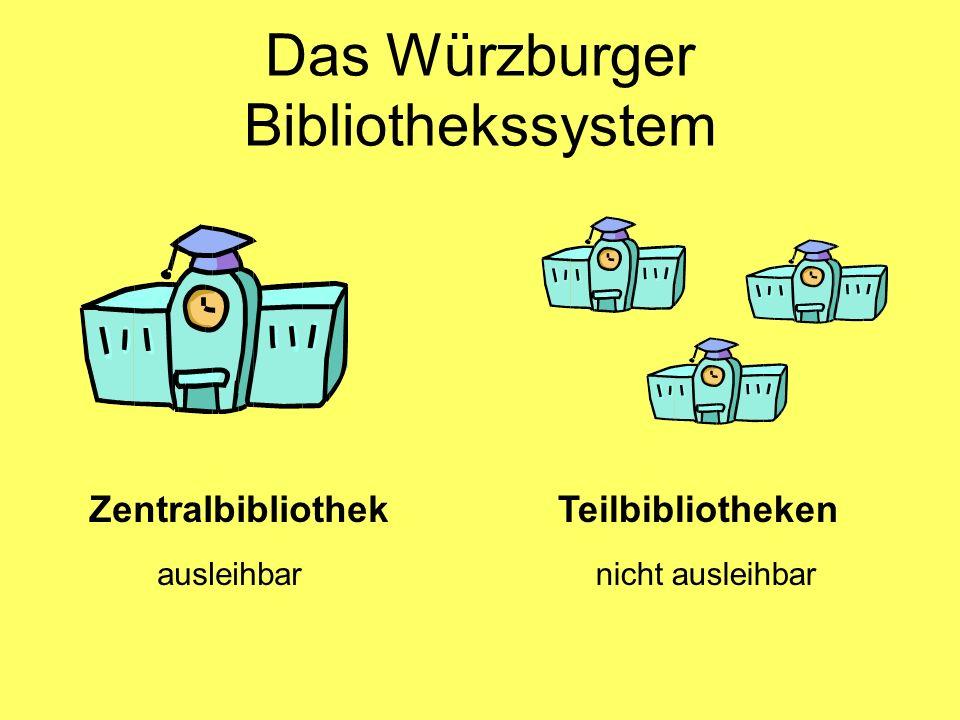 Das Würzburger Bibliothekssystem ZentralbibliothekTeilbibliotheken ausleihbarnicht ausleihbar