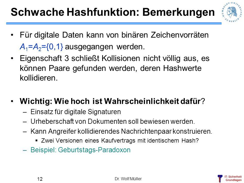 IT-Sicherheit Grundlagen Dr. Wolf Müller 12 Schwache Hashfunktion: Bemerkungen Für digitale Daten kann von binären Zeichenvorräten A 1 =A 2 ={0,1} aus
