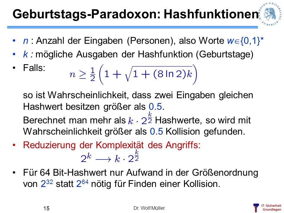 IT-Sicherheit Grundlagen Dr. Wolf Müller 15 Geburtstags-Paradoxon: Hashfunktionen n : Anzahl der Eingaben (Personen), also Worte w {0,1}* k : mögliche