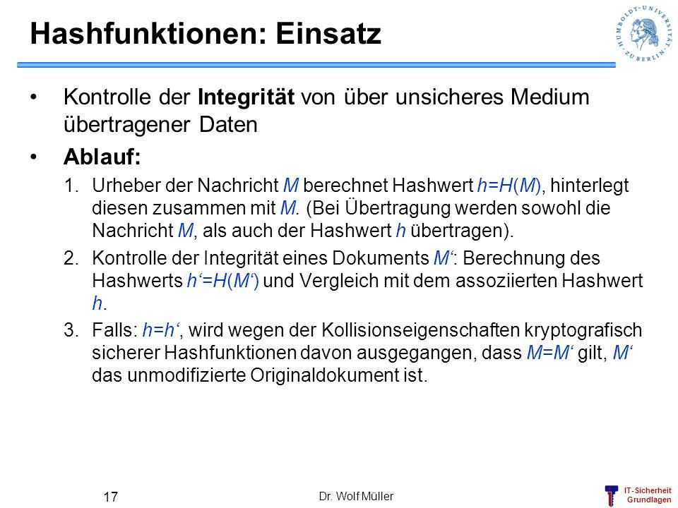 IT-Sicherheit Grundlagen Dr. Wolf Müller 17 Hashfunktionen: Einsatz Kontrolle der Integrität von über unsicheres Medium übertragener Daten Ablauf: 1.U