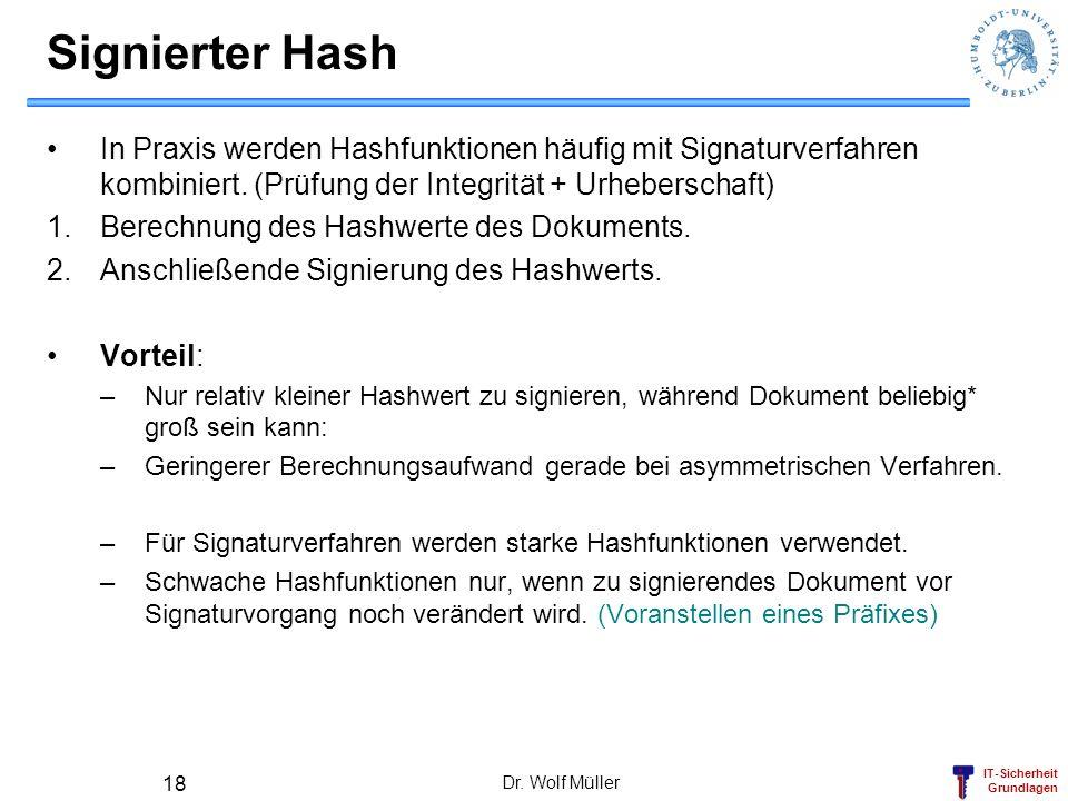 IT-Sicherheit Grundlagen Dr. Wolf Müller 18 Signierter Hash In Praxis werden Hashfunktionen häufig mit Signaturverfahren kombiniert. (Prüfung der Inte