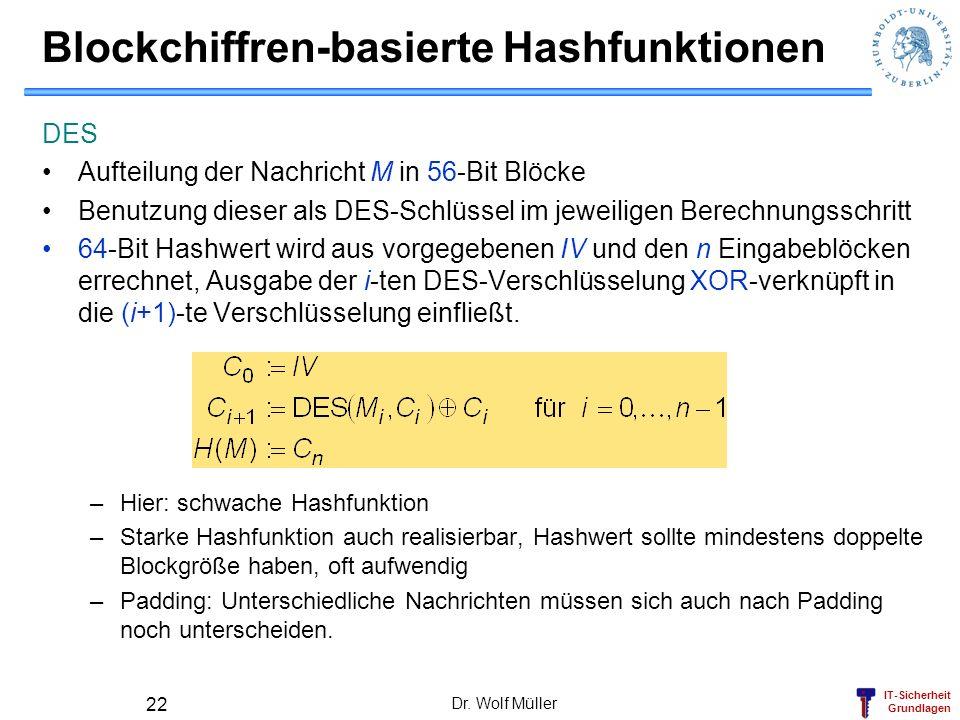 IT-Sicherheit Grundlagen Dr. Wolf Müller 22 Blockchiffren-basierte Hashfunktionen DES Aufteilung der Nachricht M in 56-Bit Blöcke Benutzung dieser als