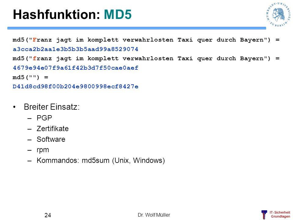 IT-Sicherheit Grundlagen Dr. Wolf Müller 24 Hashfunktion: MD5 md5(