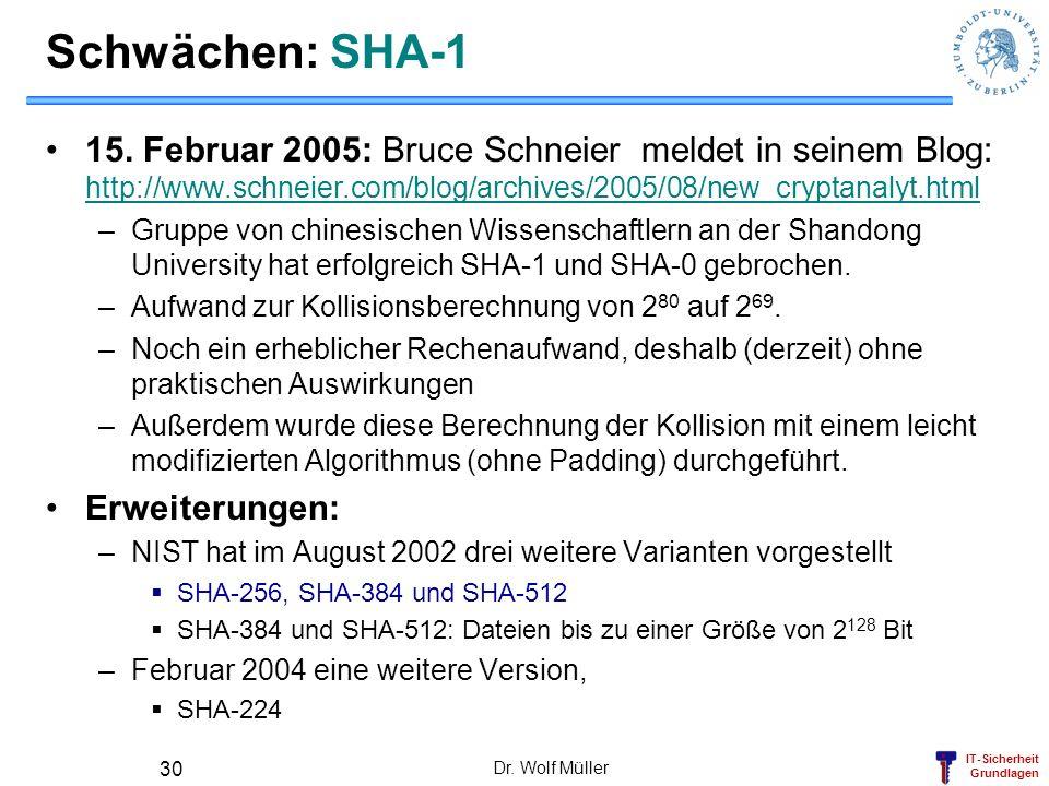 IT-Sicherheit Grundlagen Dr. Wolf Müller 30 Schwächen: SHA-1 15. Februar 2005: Bruce Schneier meldet in seinem Blog: http://www.schneier.com/blog/arch