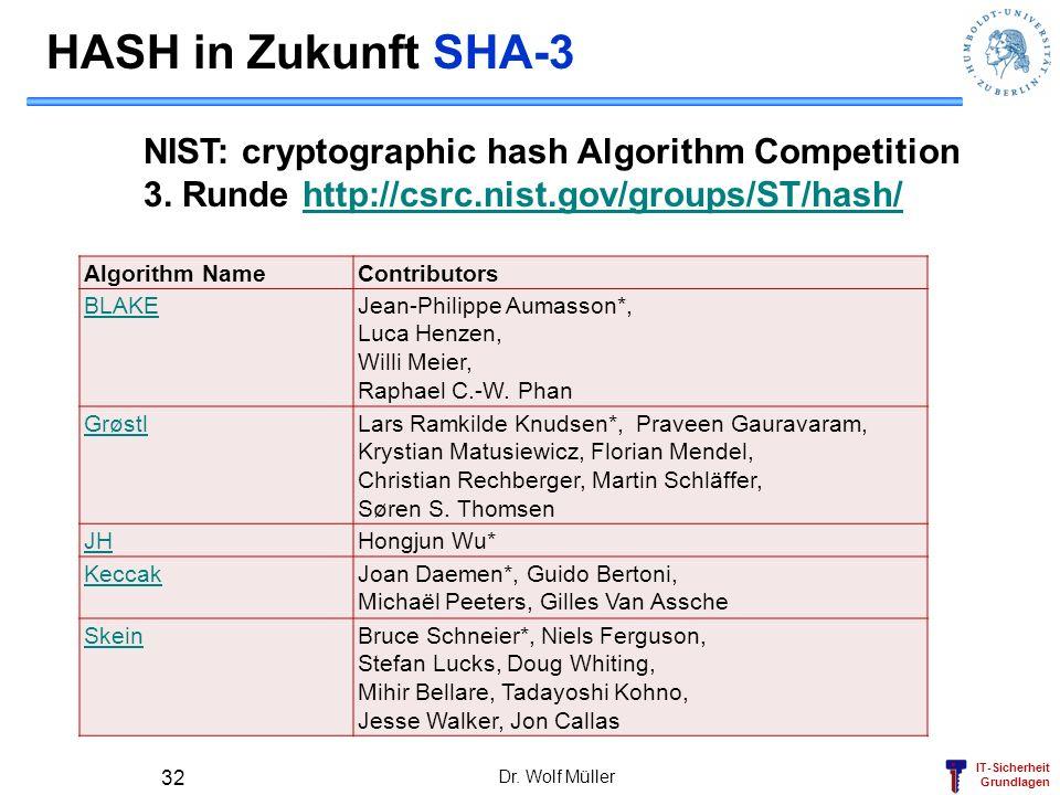 IT-Sicherheit Grundlagen HASH in Zukunft SHA-3 Algorithm NameContributors BLAKEJean-Philippe Aumasson*, Luca Henzen, Willi Meier, Raphael C.-W. Phan G