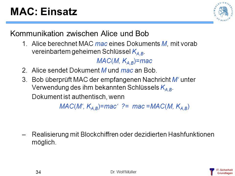 IT-Sicherheit Grundlagen Dr. Wolf Müller 34 MAC: Einsatz Kommunikation zwischen Alice und Bob 1.Alice berechnet MAC mac eines Dokuments M, mit vorab v