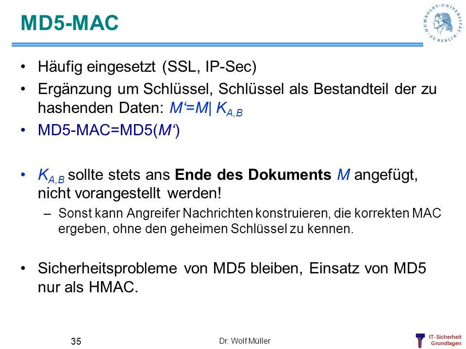 IT-Sicherheit Grundlagen Dr. Wolf Müller 35 MD5-MAC Häufig eingesetzt (SSL, IP-Sec) Ergänzung um Schlüssel, Schlüssel als Bestandteil der zu hashenden