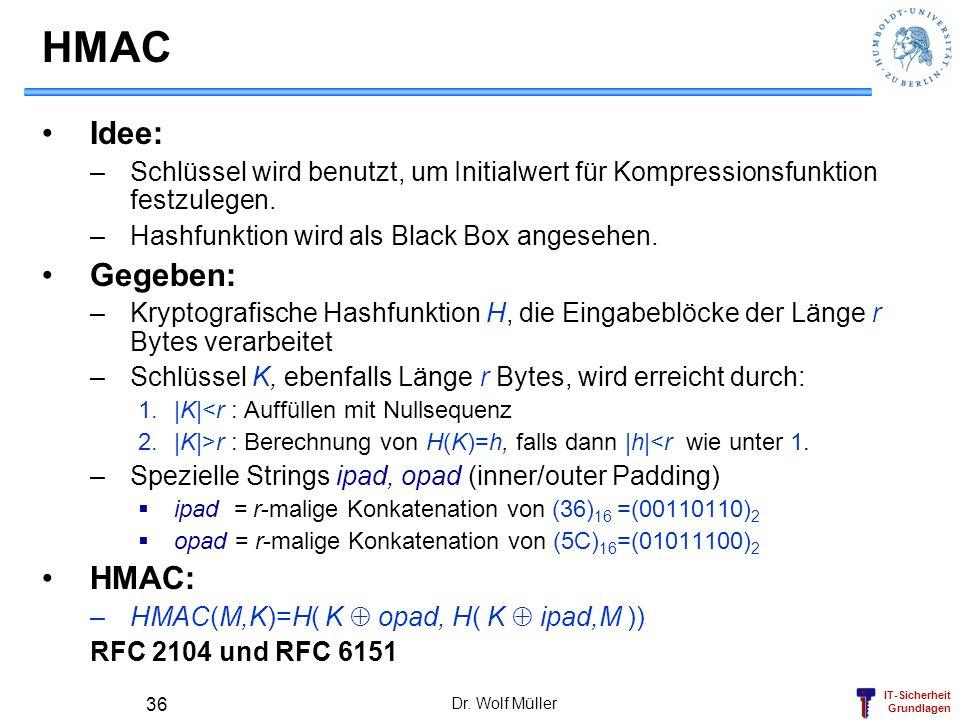IT-Sicherheit Grundlagen Dr. Wolf Müller 36 HMAC Idee: –Schlüssel wird benutzt, um Initialwert für Kompressionsfunktion festzulegen. –Hashfunktion wir
