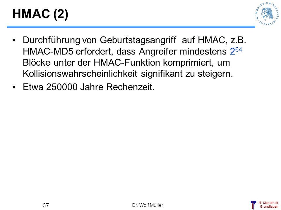 IT-Sicherheit Grundlagen Dr. Wolf Müller 37 HMAC (2) Durchführung von Geburtstagsangriff auf HMAC, z.B. HMAC-MD5 erfordert, dass Angreifer mindestens