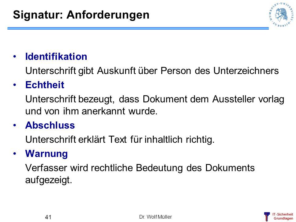 IT-Sicherheit Grundlagen Dr. Wolf Müller 41 Signatur: Anforderungen Identifikation Unterschrift gibt Auskunft über Person des Unterzeichners Echtheit