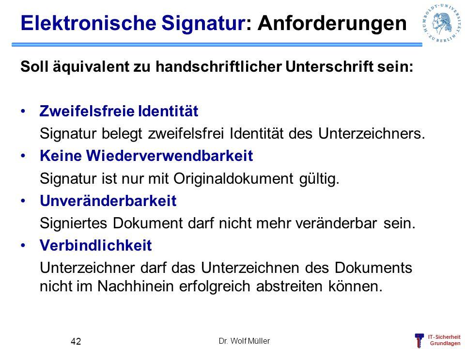 IT-Sicherheit Grundlagen Dr. Wolf Müller 42 Elektronische Signatur: Anforderungen Soll äquivalent zu handschriftlicher Unterschrift sein: Zweifelsfrei