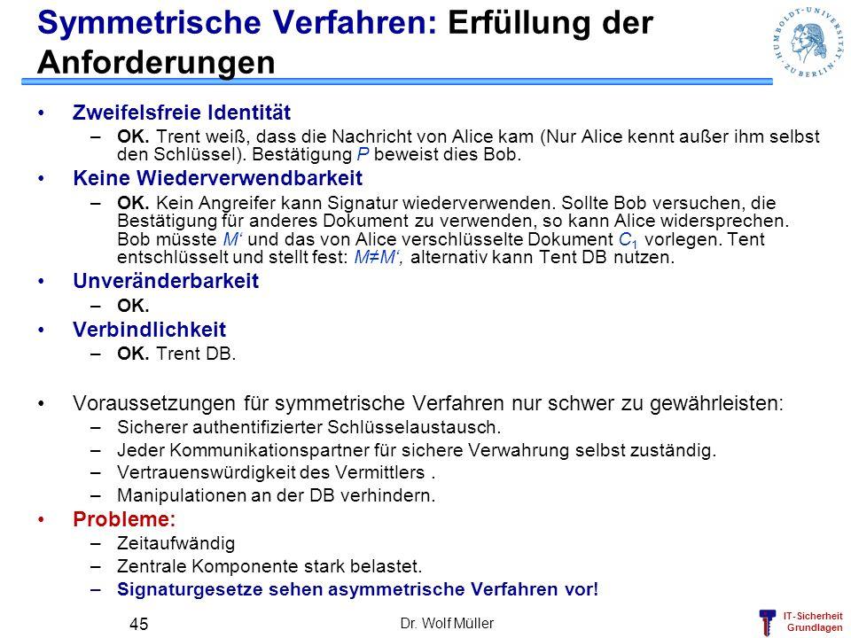 IT-Sicherheit Grundlagen Dr. Wolf Müller 45 Symmetrische Verfahren: Erfüllung der Anforderungen Zweifelsfreie Identität –OK. Trent weiß, dass die Nach