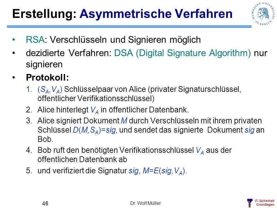 IT-Sicherheit Grundlagen Dr. Wolf Müller 46 Erstellung: Asymmetrische Verfahren RSA: Verschlüsseln und Signieren möglich dezidierte Verfahren: DSA (Di