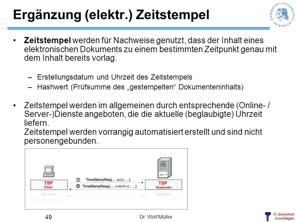IT-Sicherheit Grundlagen Dr. Wolf Müller 49 Ergänzung (elektr.) Zeitstempel Zeitstempel werden für Nachweise genutzt, dass der Inhalt eines elektronis