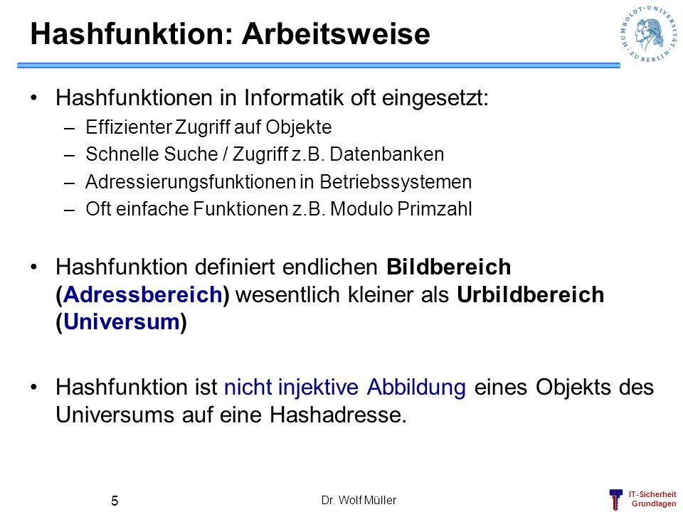 IT-Sicherheit Grundlagen Dr. Wolf Müller 5 Hashfunktion: Arbeitsweise Hashfunktionen in Informatik oft eingesetzt: –Effizienter Zugriff auf Objekte –S