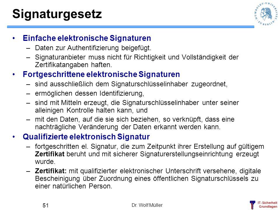 IT-Sicherheit Grundlagen Dr. Wolf Müller 51 Signaturgesetz Einfache elektronische Signaturen –Daten zur Authentifizierung beigefügt. –Signaturanbieter