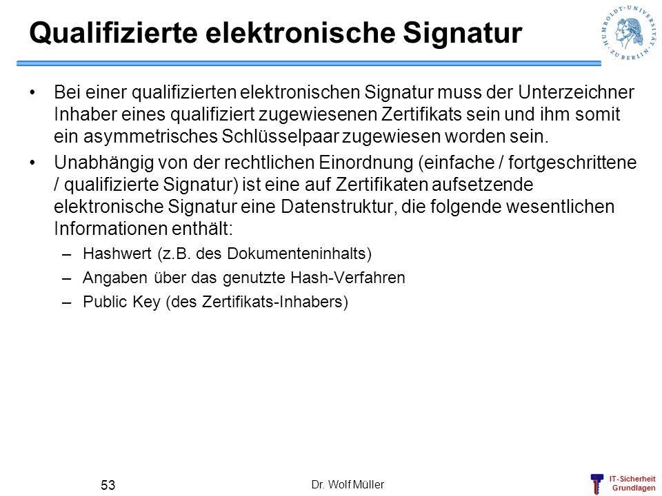IT-Sicherheit Grundlagen Dr. Wolf Müller 53 Qualifizierte elektronische Signatur Bei einer qualifizierten elektronischen Signatur muss der Unterzeichn