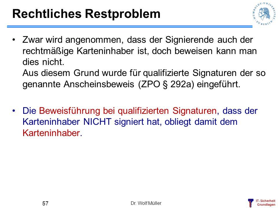 IT-Sicherheit Grundlagen Dr. Wolf Müller 57 Rechtliches Restproblem Zwar wird angenommen, dass der Signierende auch der rechtmäßige Karteninhaber ist,