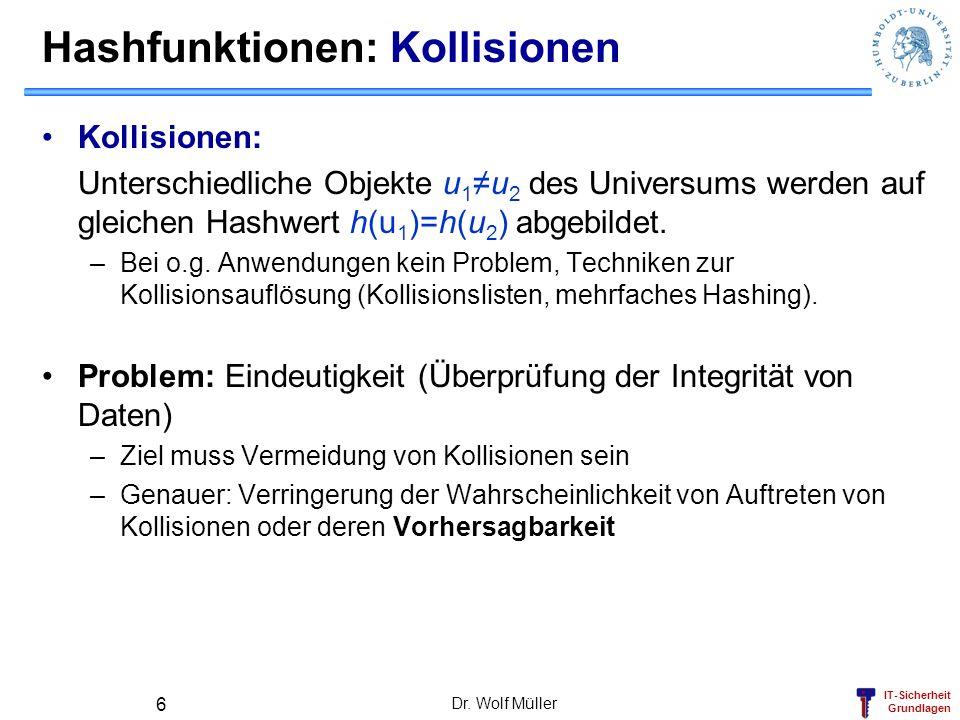 IT-Sicherheit Grundlagen Dr. Wolf Müller 6 Hashfunktionen: Kollisionen Kollisionen: Unterschiedliche Objekte u 1u 2 des Universums werden auf gleichen