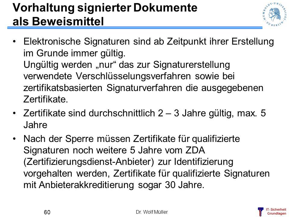 IT-Sicherheit Grundlagen Dr. Wolf Müller 60 Vorhaltung signierter Dokumente als Beweismittel Elektronische Signaturen sind ab Zeitpunkt ihrer Erstellu