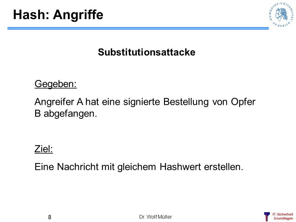 IT-Sicherheit Grundlagen Dr. Wolf Müller 8 Hash: Angriffe Substitutionsattacke Gegeben: Angreifer A hat eine signierte Bestellung von Opfer B abgefang
