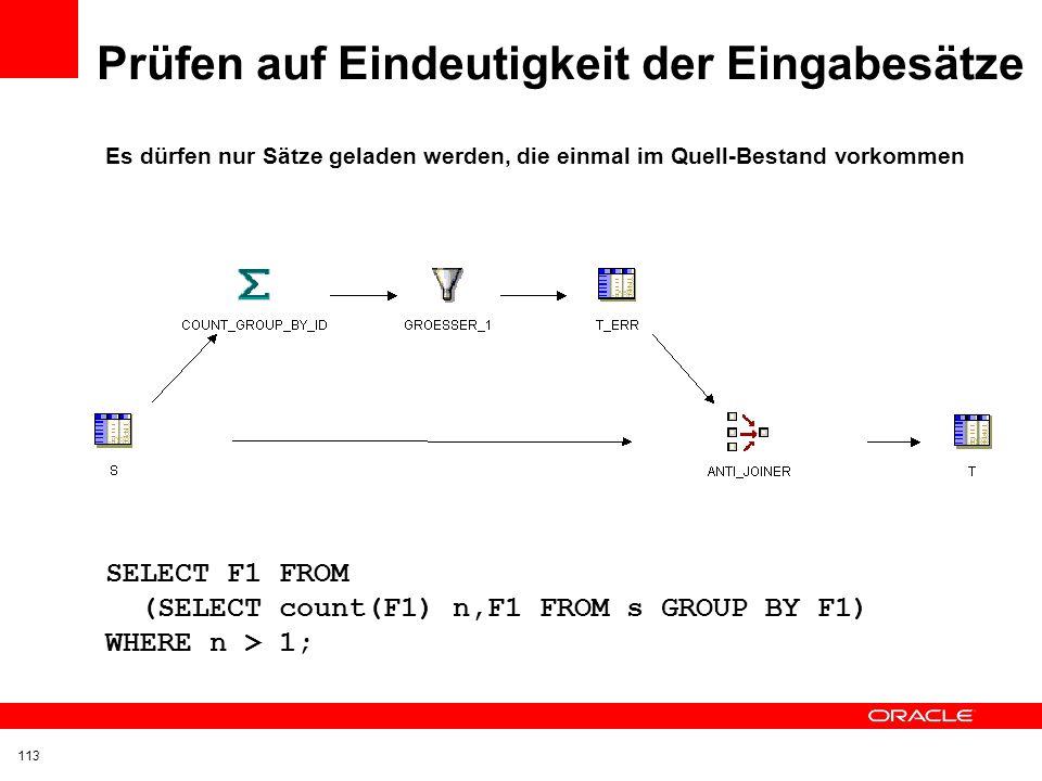 Herausfiltern und Protokollieren von Feldern mit dem Wert NOT NULL CASE WHEN F2 IS NULL THEN 1 ELSE 0 END 112