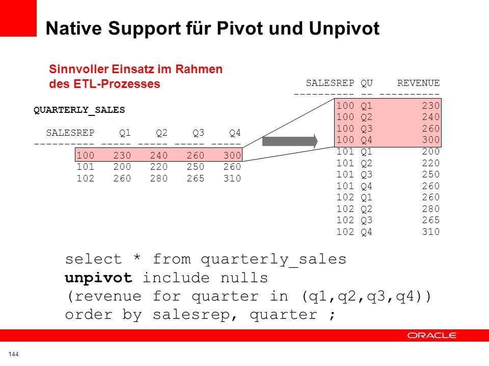 Native Support für Pivot und Unpivot SALESREP Q1 Q2 Q3 Q4 ---------- ----- ----- ----- ----- 100 230 240 260 300 101 200 220 250 260 102 260 280 265 3