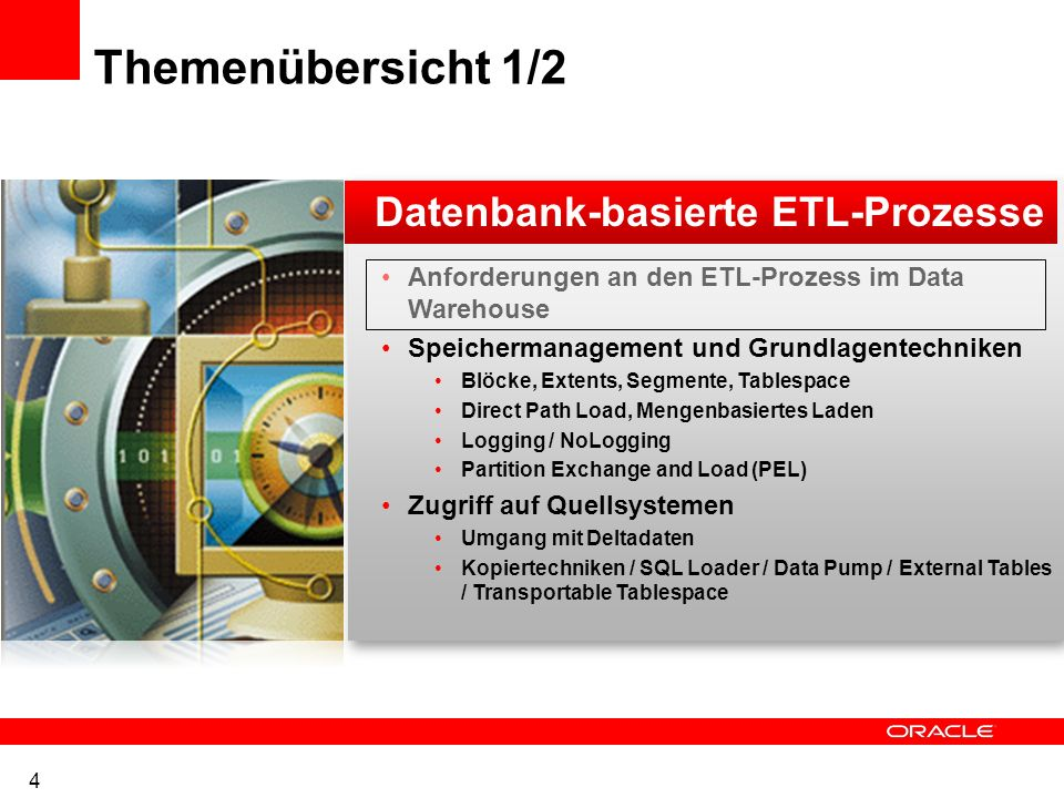 Parameterauswahl SCHEMAS=HR DUMPFILE=expinclude.dmp DIRECTORY=dpump_dir1 LOGFILE=expinclude.log INCLUDE=TABLE: IN ( EMPLOYEES , DEPARTMENTS ) INCLUDE=PROCEDURE INCLUDE=INDEX: LIKE EMP% NETWORK_LINK=source_database_link NOLOGFILE={y | n} PARALLEL=integer PARFILE=[directory_path]file_name QUERY = [schema.][table_name:] query_clause QUERY=employees: WHERE department_id > 10 AND salary > 10000 REMAP_DATA=[schema.]tablename.column_name:[schema.]pkg.function